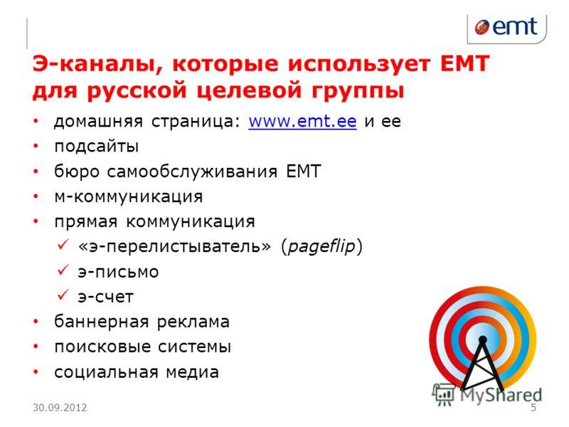 Э-каналы, которые использует ЕМТ для русской целевой группы домашняя страница: www.emt.ee и ееwww.emt.ee подсайты бюро самообслуживания ЕМТ м-коммуникация прямая коммуникация «э-перелистыватель» (pageflip) э-письмо э-счет баннерная реклама поисковые