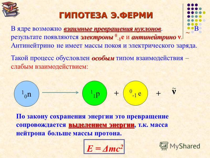 β(бета) – распад Превращения атомных ядер, сопровождаемые испусканием потока электронов называется β – распадом. А – массовое число, Z – зарядовое число АZXАZX А Z+1 Y 0 -1 e + + γ теоретически исключает возможность Протон-нейтронное строение ядра те