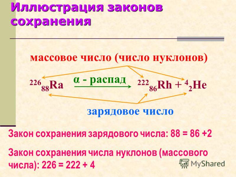 Ядерные реакции искусственные превращения атомных ядер, вызванные их взаимодействием с частицами или друг с другом. Для ядерных реакций справедливы общие законы сохранения электрического заряда, числа нуклонов, энергии, импульса, массы