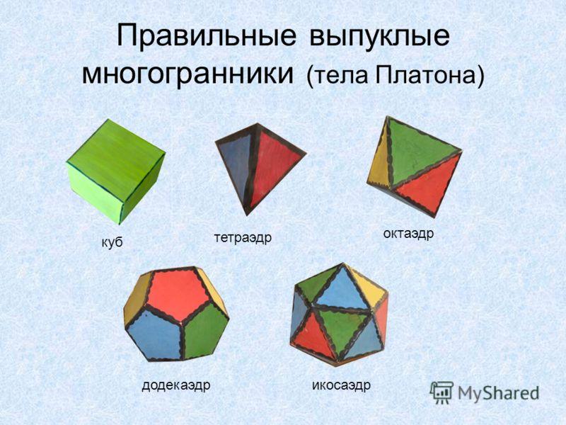 Правильные выпуклые многогранники (тела Платона) куб тетраэдр октаэдр додекаэдрикосаэдр
