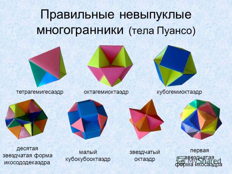Правильные невыпуклые многогранники (тела Пуансо) тетрагемигесаэдроктагемиоктаэдркубогемиоктаэдр десятая звездчатая форма икосододекаэдра малый кубокубооктаэдр звездчатый октаэдр первая звездчатая форма икосаэдра
