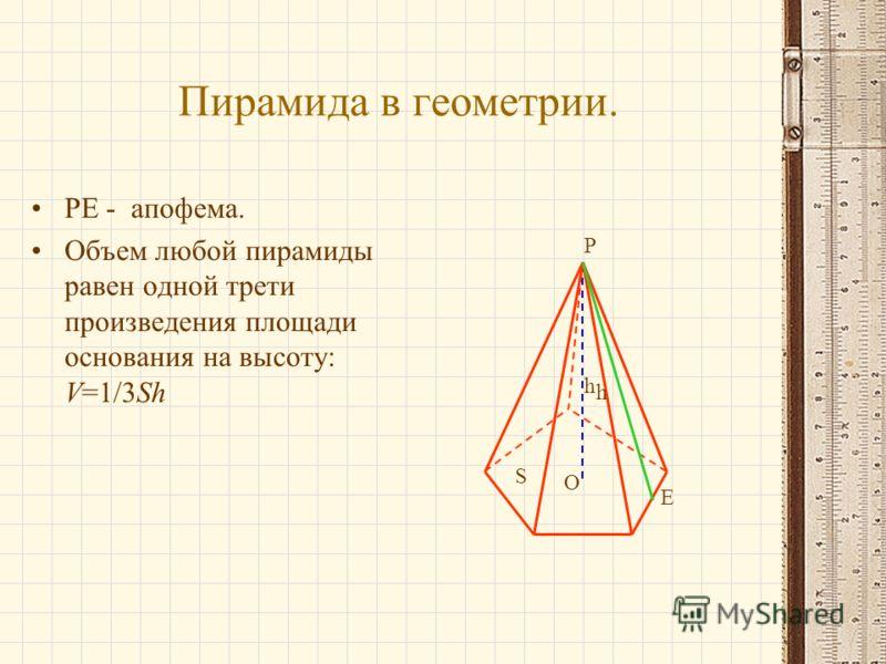 Пирамида в геометрии. PE - апофема. Объем любой пирамиды равен одной трети произведения площади основания на высоту: V=1/3Sh S h P E O h