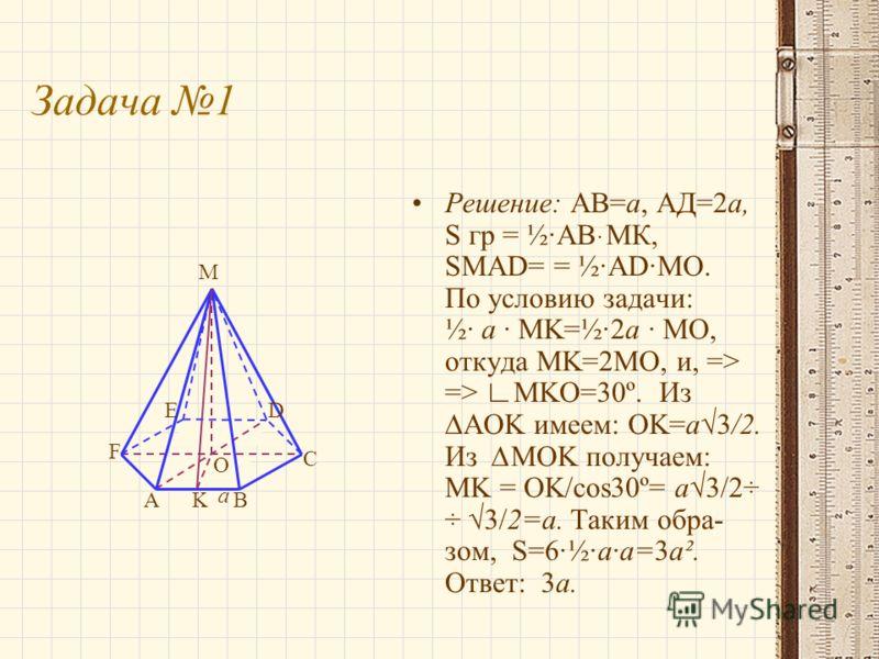 Задача 1 Решение: АВ=а, АД=2а, S гр = ½·АВּМК, SMAD= = ½·AD·MO. По условию задачи: ½· a · MK=½·2a · MO, откуда MK=2MO, и, => => MKO=30º. ИзAOK имеем: OK=a3/2. Из MOK получаем: MK = OK/cos30º= a3/2÷ ÷ 3/2=a. Таким обра- зом, S=6·½·a·a=3a². Ответ: 3а.