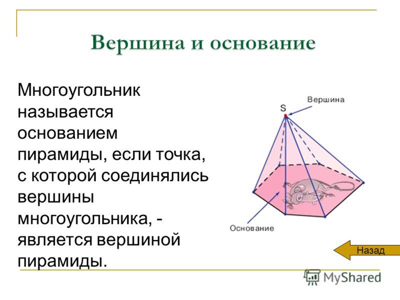 Многоугольник называется основанием пирамиды, если точка, с которой соединялись вершины многоугольника, - является вершиной пирамиды. Назад