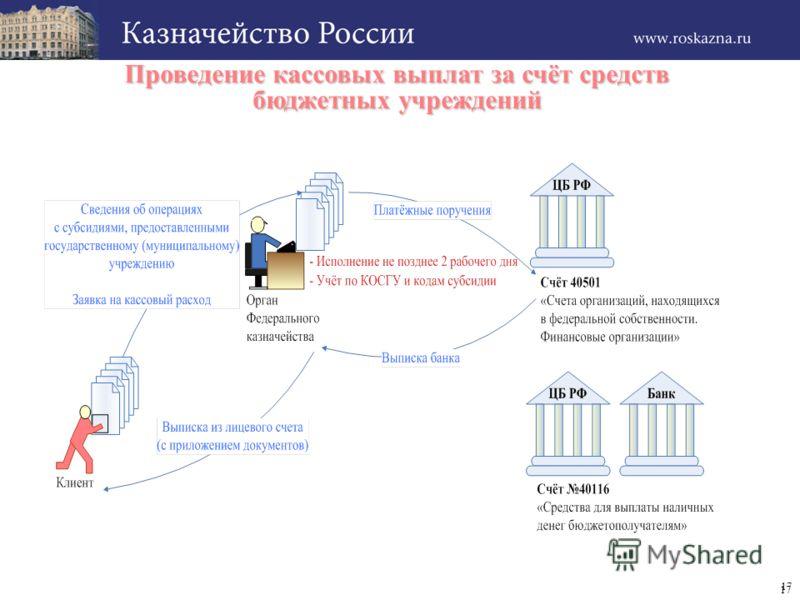 17 Проведение кассовых выплат за счёт средств бюджетных учреждений 17