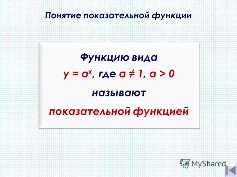 Понятие показательной функции. Функцию вида y = а х, где а 1, a > 0 называют показательной функцией Функцию вида y = а х, где а 1, a > 0 называют показательной функцией