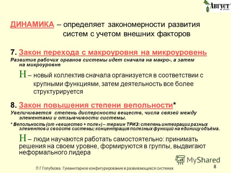 Л.Г.Голубкова. Гуманитарное конфигурирование в развивающихся системах 8 ДИНАМИКАДИНАМИКА – определяет закономерности развития систем с учетом внешних факторов 7. Закон перехода с макроуровня на микроуровеньЗакон перехода с макроуровня на микроуровень
