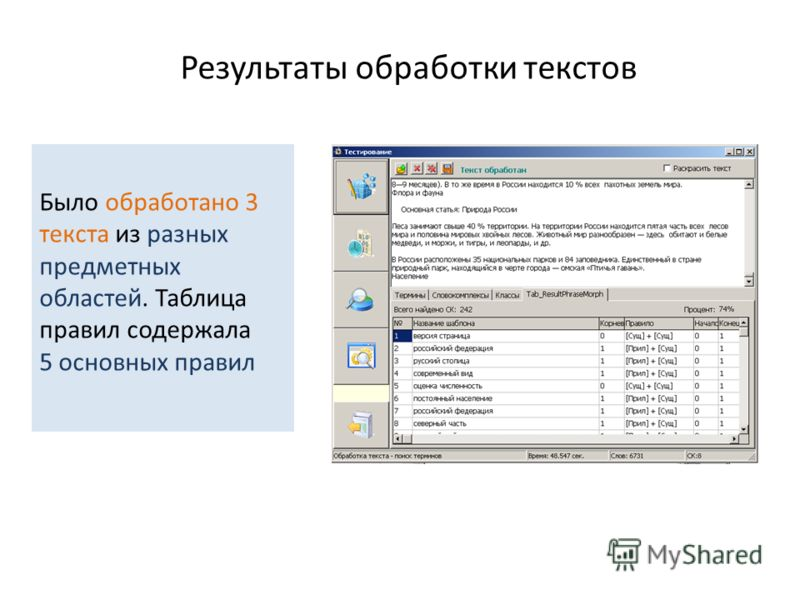 Результаты обработки текстов Было обработано 3 текста из разных предметных областей. Таблица правил содержала 5 основных правил