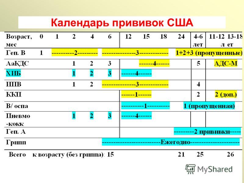 Календарь прививок США