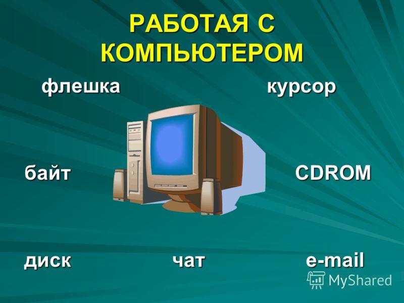 РАБОТАЯ С КОМПЬЮТЕРОМ флешка курсор флешка курсор байт CDROM диск чат e-mail