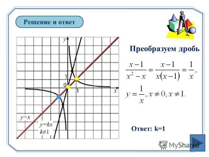 Решение и ответ Преобразуем дробь Ответ: k=1
