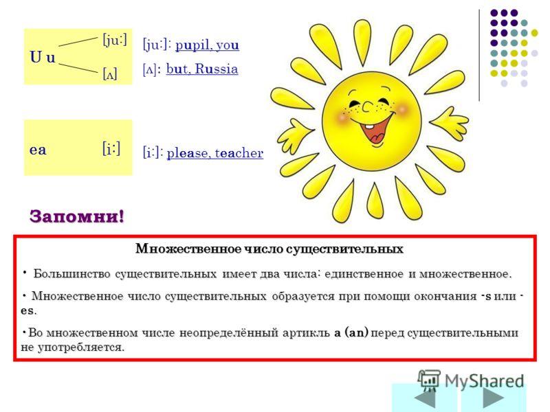 [ju:] U u [ л ] [ju:]: pupil, you [л]: but, Russia ea [i:] [i:]: please, teacher Запомни! Множественное число существительных Большинство существительных имеет два числа: единственное и множественное. Множественное число существительных образуется пр