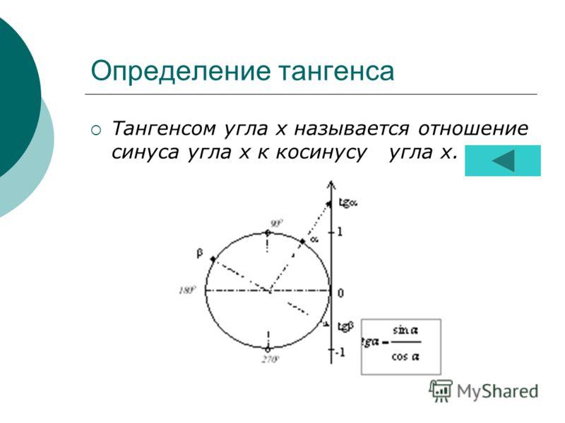 Определение тангенса Тангенсом угла х называется отношение синуса угла х к косинусу угла х.