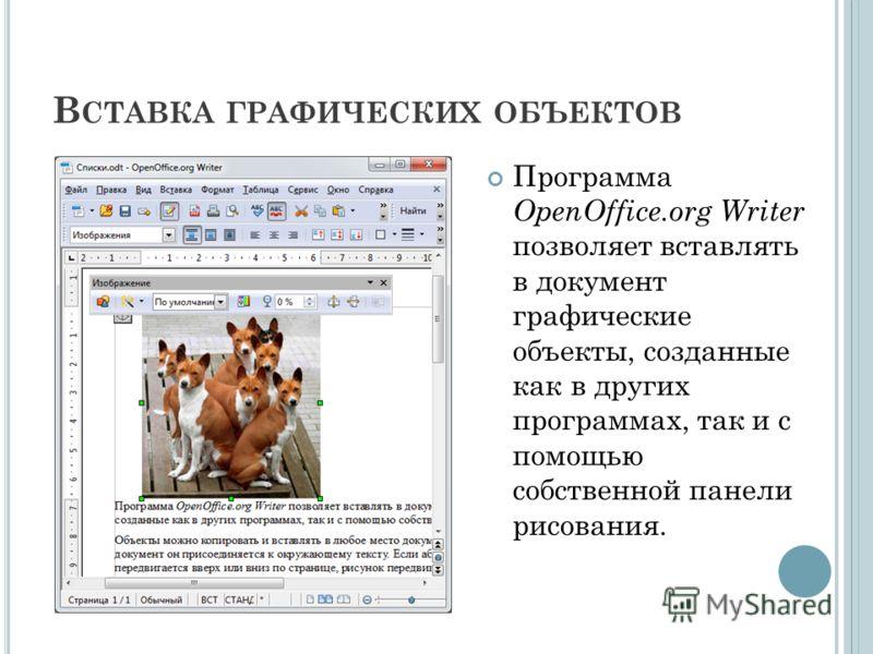 В СТАВКА ГРАФИЧЕСКИХ ОБЪЕКТОВ Программа OpenOffice.org Writer позволяет вставлять в документ графические объекты, созданные как в других программах, так и с помощью собственной панели рисования.