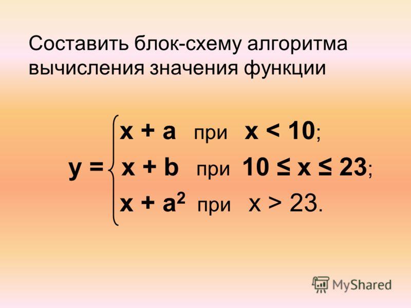 Составить блок-схему алгоритма вычисления значения функции x + a при x < 10 ; y = x + b при 10 x 23 ; x + a 2 при x > 23.