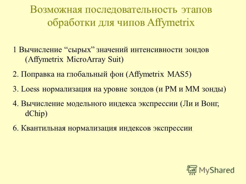 Возможная последовательность этапов обработки для чипов Affymetrix 1 Вычисление сырых значений интенсивности зондов (Affymetrix MicroArray Suit) 2. Поправка на глобальный фон (Affymetrix MAS5) 3. Loess нормализация на уровне зондов (и PM и MM зонды)