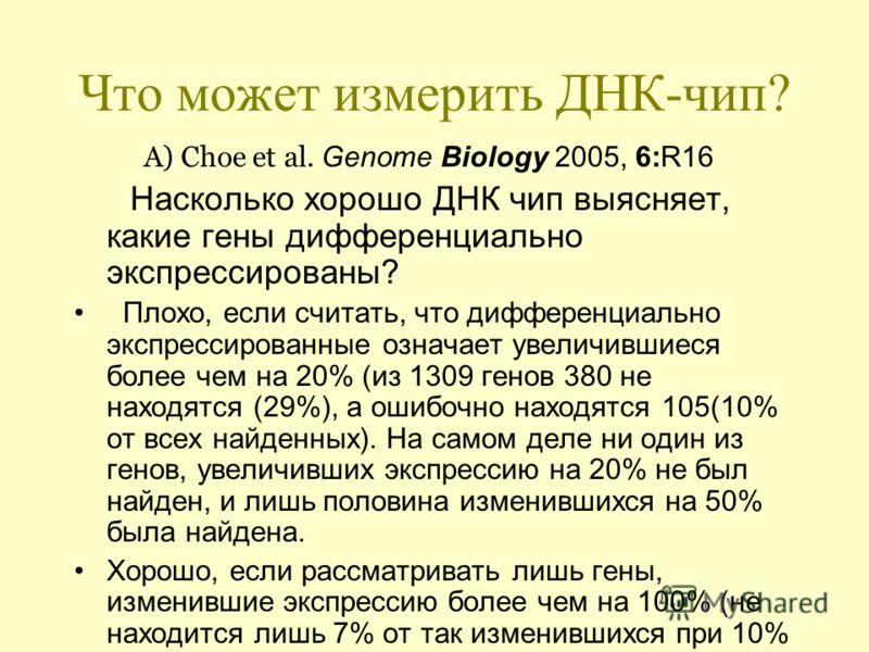 Что может измерить ДНК-чип? А) Choe et al. Genome Biology 2005, 6:R16 Насколько хорошо ДНК чип выясняет, какие гены дифференциально экспрессированы? Плохо, если считать, что дифференциально экспрессированные означает увеличившиеся более чем на 20% (и