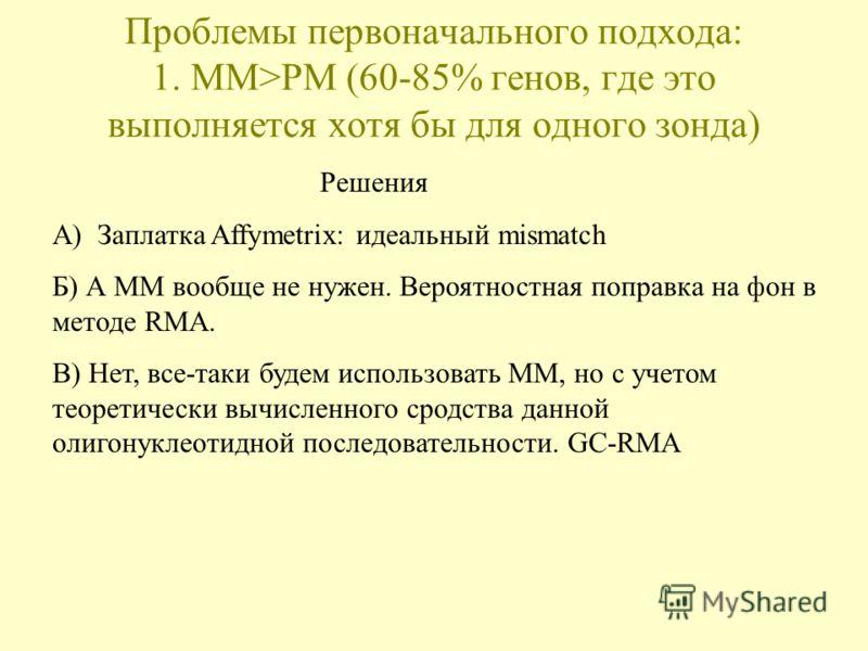 Проблемы первоначального подхода: 1. MM>PM (60-85% генов, где это выполняется хотя бы для одного зонда) Решения А) Заплатка Affymetrix: идеальный mismatch Б) А MM вообще не нужен. Вероятностная поправка на фон в методе RMA. В) Нет, все-таки будем исп