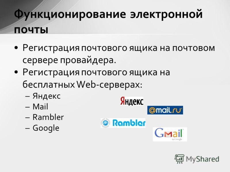 Регистрация почтового ящика на почтовом сервере провайдера. Регистрация почтового ящика на бесплатных Web-серверах: –Яндекс –Mail –Rambler –Google Функционирование электронной почты