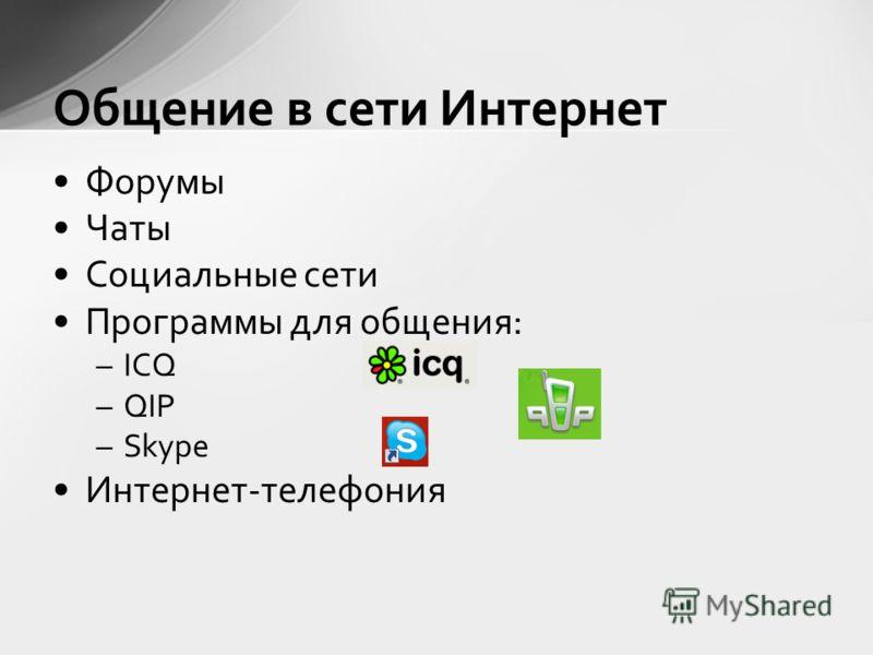 Форумы Чаты Социальные сети Программы для общения: –ICQ –QIP –Skype Интернет-телефония Общение в сети Интернет