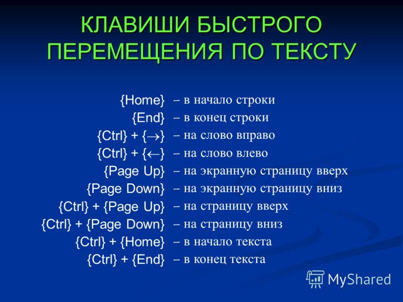 КЛАВИШИ БЫСТРОГО ПЕРЕМЕЩЕНИЯ ПО ТЕКСТУ {Home} {End} {Ctrl} + { } {Page Up} {Page Down} {Ctrl} + {Page Up} {Ctrl} + {Page Down} {Ctrl} + {Home} {Ctrl} + {End} – в начало строки – в конец строки – на слово вправо – на слово влево – на экранную страницу