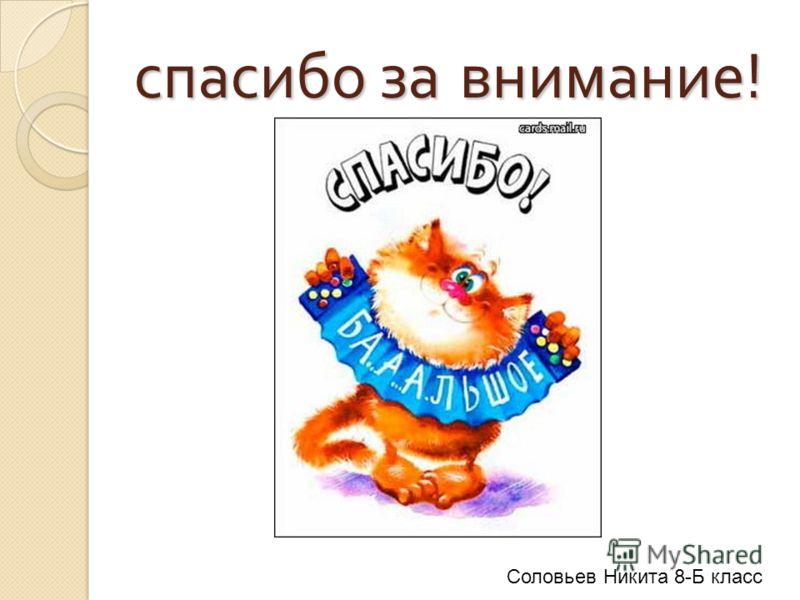 спасибо за внимание ! Соловьев Никита 8-Б класс