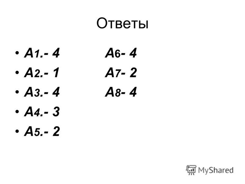 Ответы А 1.- 4 А 6 - 4 А 2.- 1 А 7 - 2 А 3.- 4 А 8 - 4 А 4.- 3 А 5.- 2
