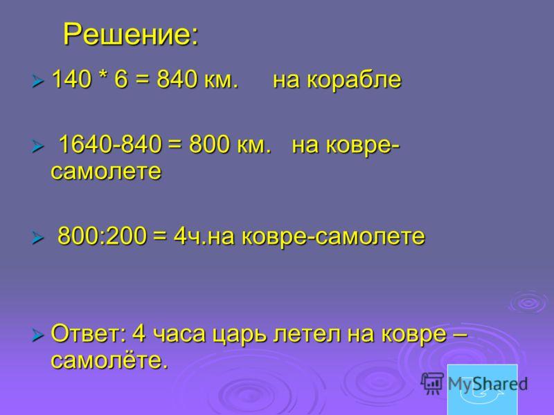 Решение: 140 * 6 = 840 км. на корабле 140 * 6 = 840 км. на корабле 1640-840 = 800 км. на ковре- самолете 1640-840 = 800 км. на ковре- самолете 800:200 = 4ч.на ковре-самолете 800:200 = 4ч.на ковре-самолете Ответ: 4 часа царь летел на ковре – самолёте.