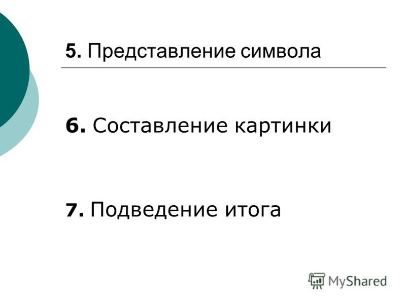 5. Представление символа 6. Составление картинки 7. Подведение итога