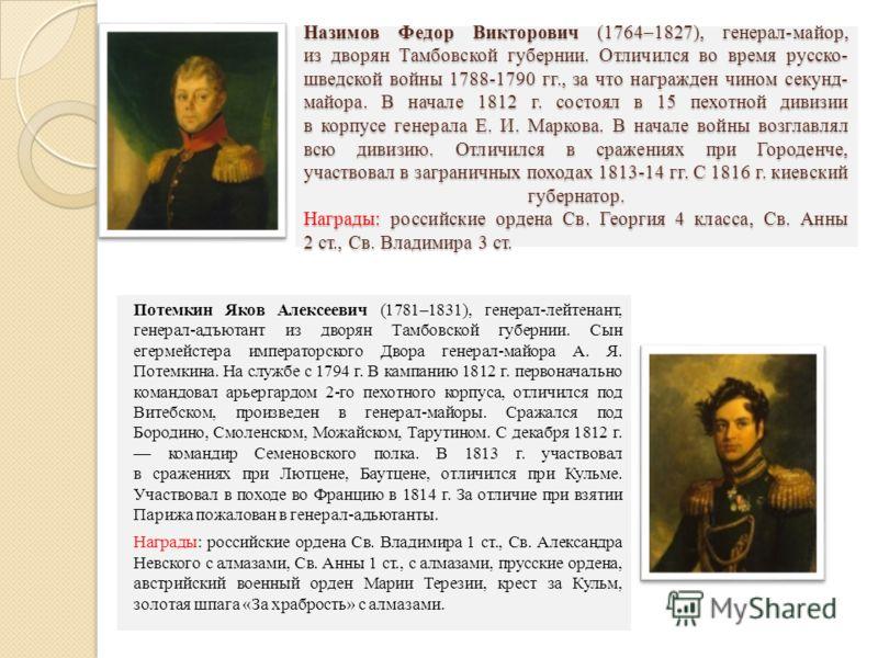 Назимов Федор Викторович (1764–1827), генерал-майор, из дворян Тамбовской губернии. Отличился во время русско- шведской войны 1788-1790 гг., за что награжден чином секунд- майора. В начале 1812 г. состоял в 15 пехотной дивизии в корпусе генерала Е. И