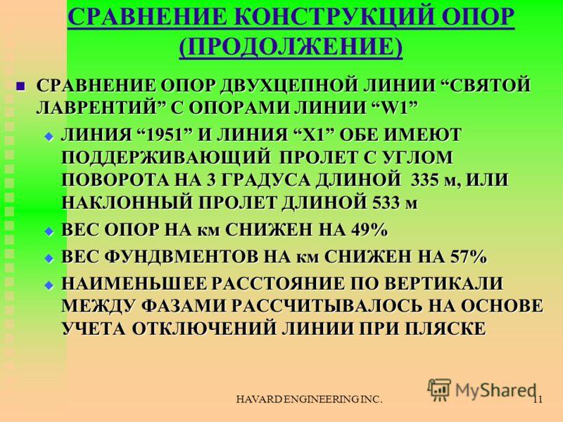 HAVARD ENGINEERING INC.11 СРАВНЕНИЕ КОНСТРУКЦИЙ ОПОР (ПРОДОЛЖЕНИЕ) СРАВНЕНИЕ ОПОР ДВУХЦЕПНОЙ ЛИНИИ СВЯТОЙ ЛАВРЕНТИЙ С ОПОРАМИ ЛИНИИ W1 СРАВНЕНИЕ ОПОР ДВУХЦЕПНОЙ ЛИНИИ СВЯТОЙ ЛАВРЕНТИЙ С ОПОРАМИ ЛИНИИ W1 ЛИНИЯ 1951 И ЛИНИЯ X1 ОБЕ ИМЕЮТ ПОДДЕРЖИВАЮЩИЙ
