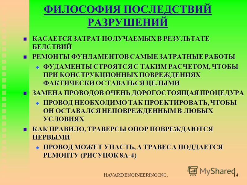 HAVARD ENGINEERING INC.14 ФИЛОСОФИЯ ПОСЛЕДСТВИЙ РАЗРУШЕНИЙ КАСАЕТСЯ ЗАТРАТ ПОЛУЧАЕМЫХ В РЕЗУЛЬТАТЕ БЕДСТВИЙ КАСАЕТСЯ ЗАТРАТ ПОЛУЧАЕМЫХ В РЕЗУЛЬТАТЕ БЕДСТВИЙ РЕМОНТЫ ФУНДАМЕНТОВ САМЫЕ ЗАТРАТНЫЕ РАБОТЫ РЕМОНТЫ ФУНДАМЕНТОВ САМЫЕ ЗАТРАТНЫЕ РАБОТЫ ФУДАМЕН
