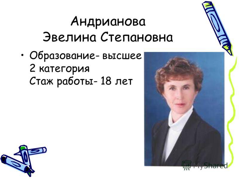 Андрианова Эвелина Степановна Образование- высшее 2 категория Стаж работы- 18 лет