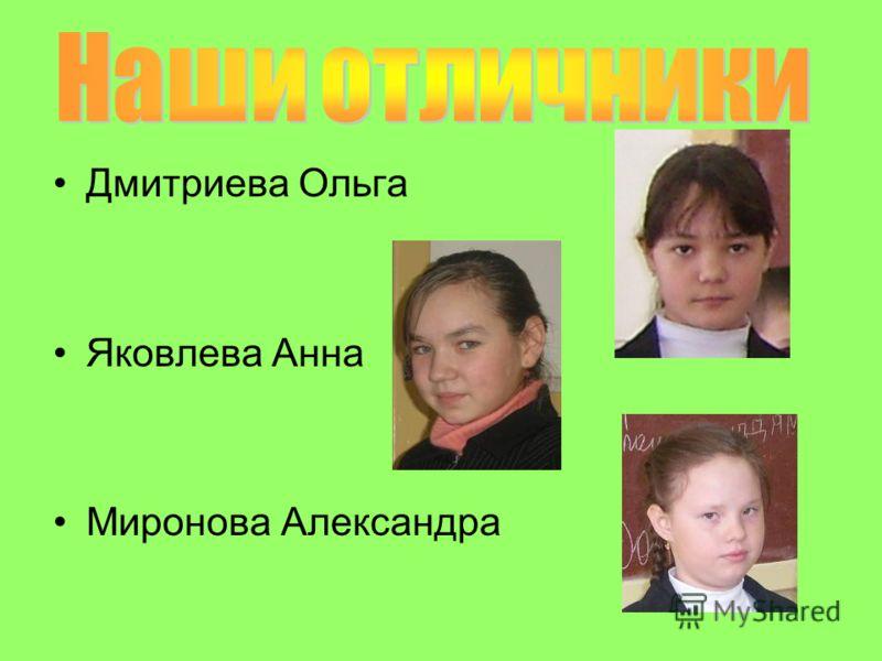 Дмитриева Ольга Яковлева Анна Миронова Александра