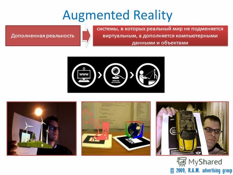Augmented Reality Дополненная реальность системы, в которых реальный мир не подменяется виртуальным, а дополняется компьютерными данными и объектами