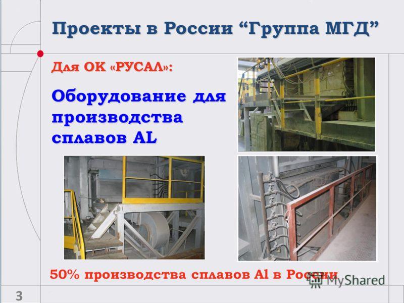 Для ОК «РУСАЛ»: Оборудование для производства сплавов AL 50% производства сплавов Al в России 3 Проекты в России Группа МГД