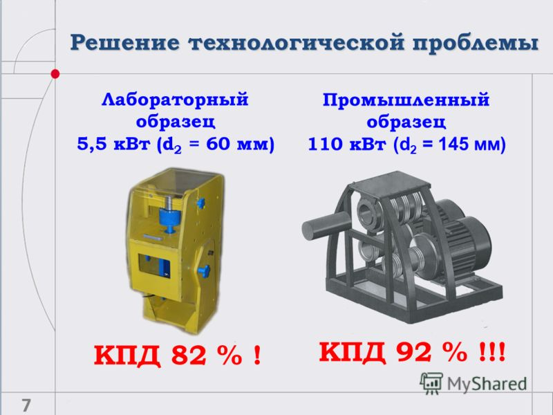 Решение технологической проблемы КПД 82 % ! Лабораторный образец 5,5 кВт (d 2 = 60 мм) Промышленный образец 110 кВт (d 2 = 145 мм) КПД 92 % !!! 7