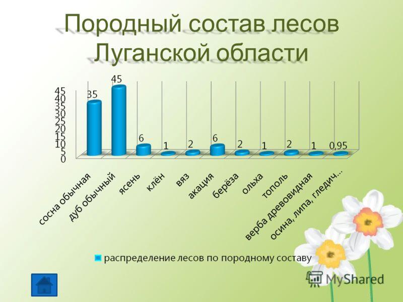 Породный состав лесов Луганской области