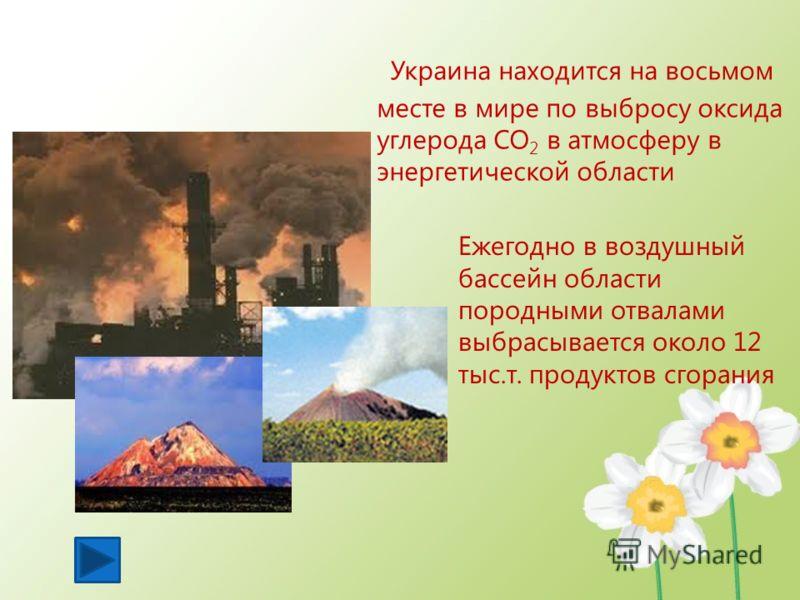 У краина находится на восьмом месте в мире по выбросу оксида углерода СО 2 в атмосферу в энергетической области Ежегодно в воздушный бассейн области породными отвалами выбрасывается около 12 тыс.т. продуктов сгорания
