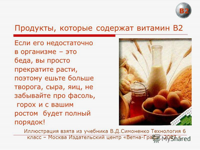 Продукты, которые содержат витамин В2 Если его недостаточно в организме – это беда, вы просто прекратите расти, поэтому ешьте больше творога, сыра, яиц, не забывайте про фасоль, горох и с вашим ростом будет полный порядок! В2 Иллюстрация взята из уче
