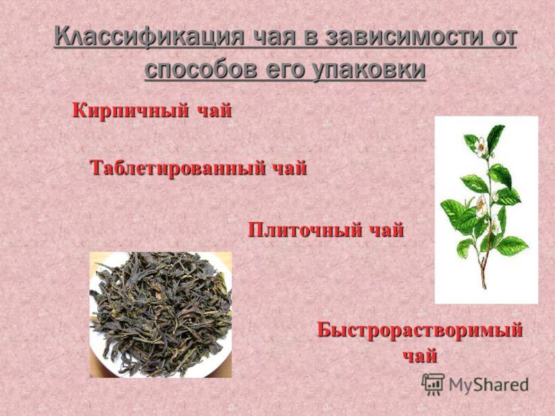 Классификация чая в зависимости от способов его упаковки Кирпичный чай Кирпичный чай Плиточный чай Плиточный чай Таблетированный чай Таблетированный чай Быстрорастворимый чай