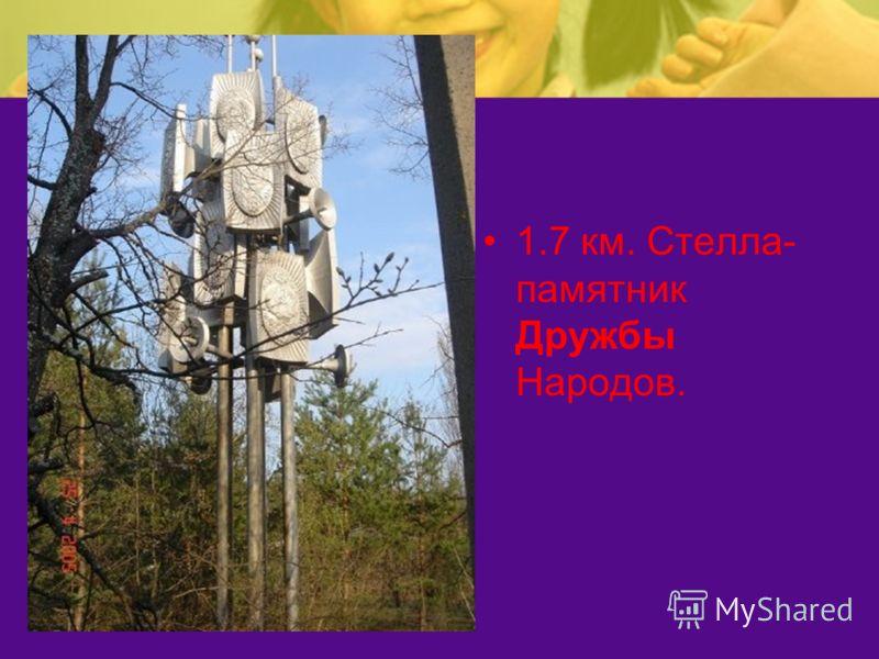 1.7 км. Стелла- памятник Дружбы Народов.