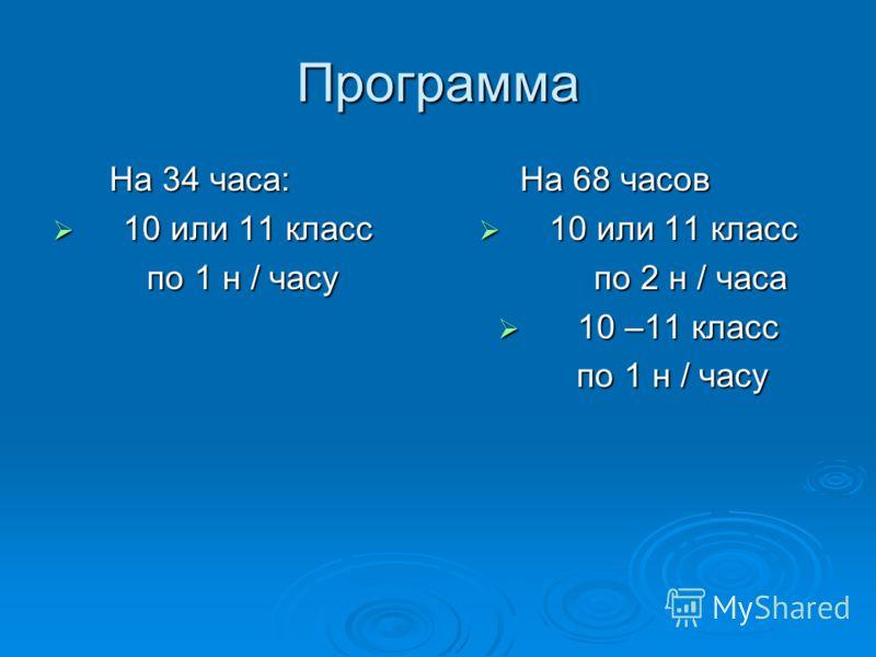 Программа На 34 часа: На 34 часа: 10 или 11 класс 10 или 11 класс по 1 н / часу по 1 н / часу На 68 часов На 68 часов 10 или 11 класс 10 или 11 класс по 2 н / часа по 2 н / часа 10 –11 класс 10 –11 класс по 1 н / часу по 1 н / часу
