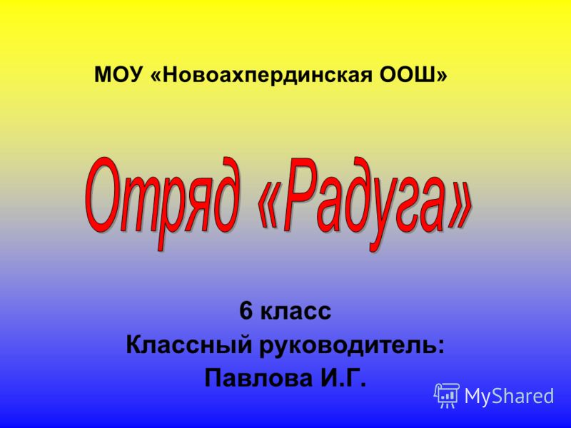 МОУ «Новоахпердинская ООШ» 6 класс Классный руководитель: Павлова И.Г.