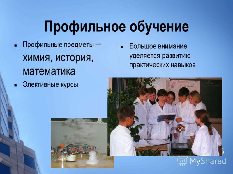 Профильное обучение Профильные предметы – химия, история, математика Элективные курсы Большое внимание уделяется развитию практических навыков 5