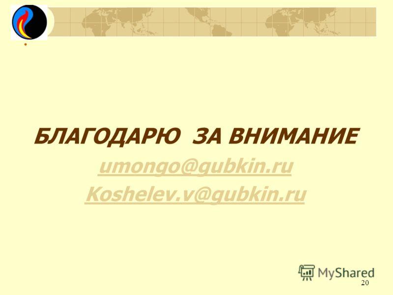 . БЛАГОДАРЮ ЗА ВНИМАНИЕ umongo@gubkin.ru Koshelev.v@gubkin.ru 20