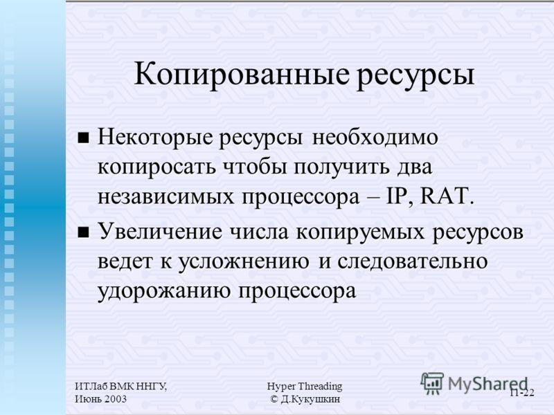 ИТЛаб ВМК ННГУ, Июнь 2003 Hyper Threading © Д.Кукушкин 11-22 Копированные ресурсы Некоторые ресурсы необходимо копиросать чтобы получить два независимых процессора – IP, RAT. Некоторые ресурсы необходимо копиросать чтобы получить два независимых проц