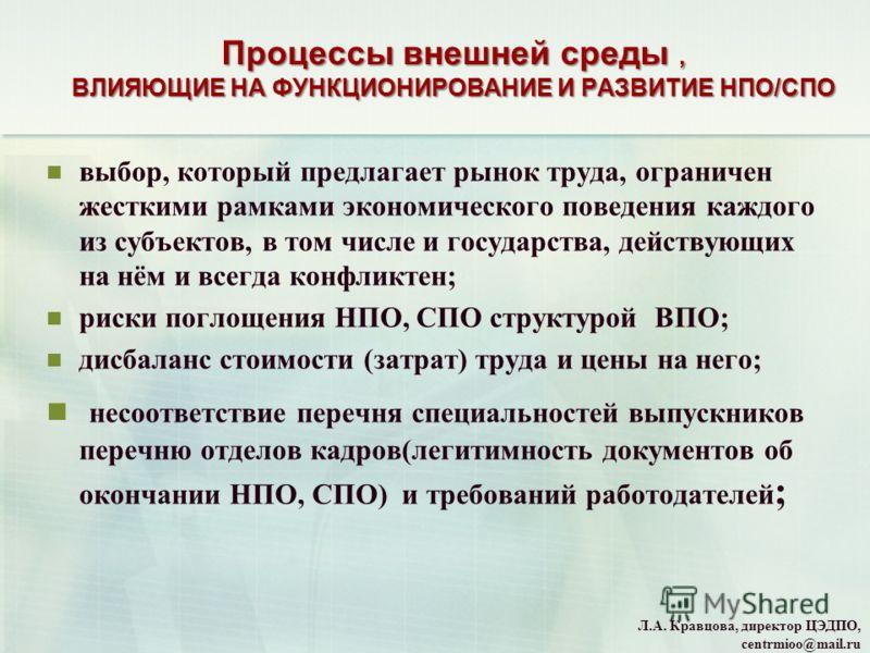 Л.А. Кравцова, директор ЦЭДПО, centrmioo@mail.ru выбор, который предлагает рынок труда, ограничен жесткими рамками экономического поведения каждого из субъектов, в том числе и государства, действующих на нём и всегда конфликтен; риски поглощения НПО,
