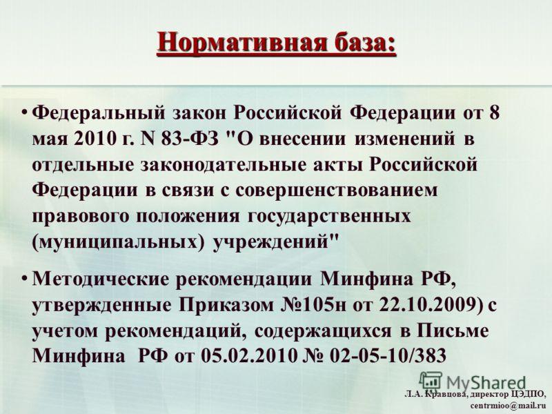 Нормативная база: Федеральный закон Российской Федерации от 8 мая 2010 г. N 83-ФЗ