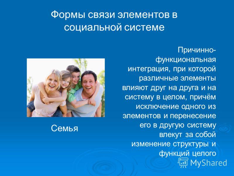 Формы связи элементов в социальной системе Причинно- функциональная интеграция, при которой различные элементы влияют друг на друга и на систему в целом, причём исключение одного из элементов и перенесение его в другую систему влекут за собой изменен